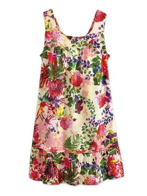 Women Floral Dresses Daily Cotton-Blend Paneled Dresses