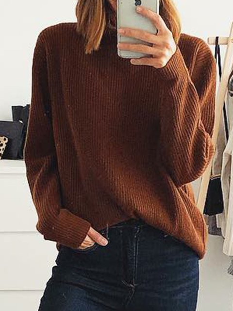 Brown Plain Long Sleeve Knitted Sweaters