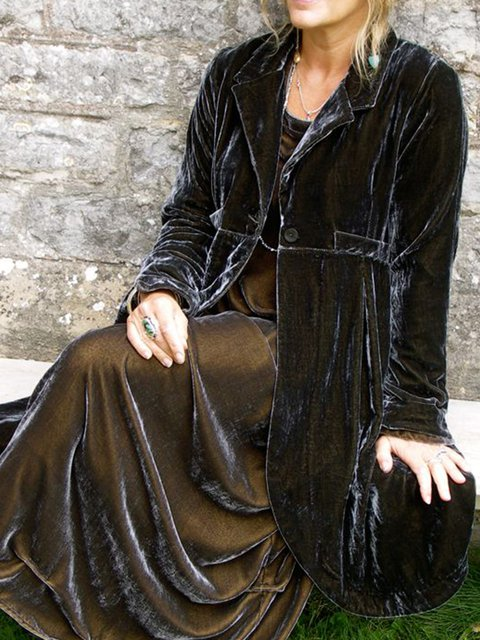 Black Shawl Collar Solid Long Sleeve Shift Outerwear
