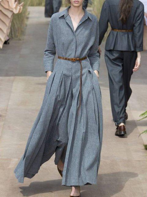 Cotton-Blend Solid Shirt Collar Dresses