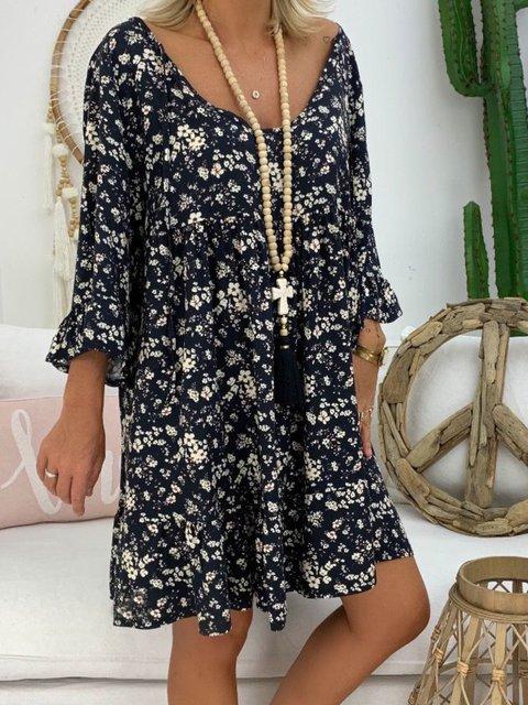 Casual Floral-Print V Neck Dresses