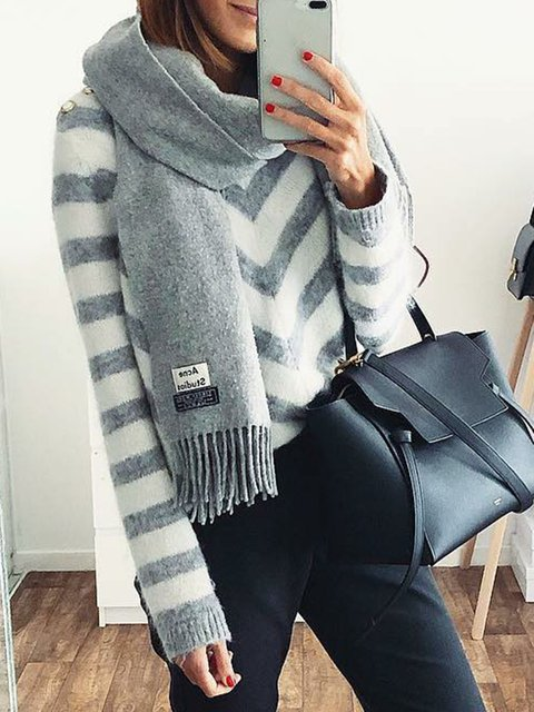 White-Gray Knitted Stripes Buttoned Long Sleeve Sweaters