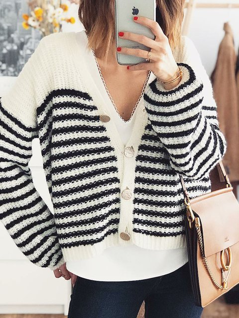 White-Black Knitted Knitted Long Sleeve Stripes Sweaters