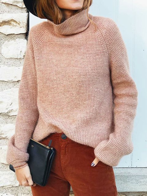 Pink Long Sleeve Knitted Plain Turtleneck Sweaters