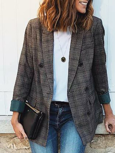Formal Lapel Checkered Casual Cotton-Blend Long Sleeve Coats