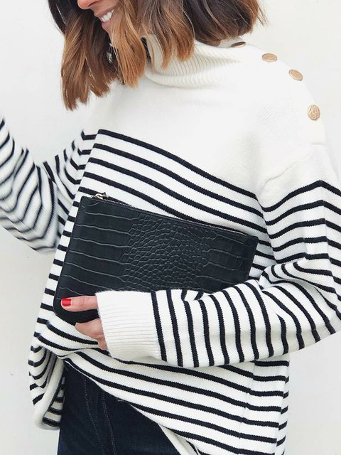 White-Black Knitted Long Sleeve Stripes Color-Block Sweaters