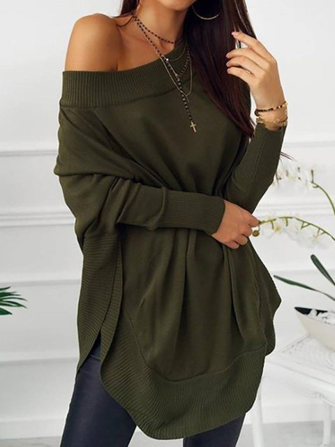 Long Sleeve Cotton Plain Shirts & Tops