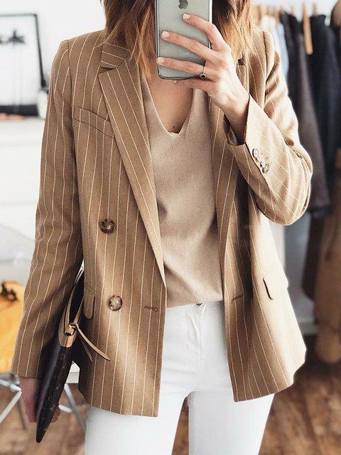 Lapel Cotton-Blend Long Sleeve Stripes Coats
