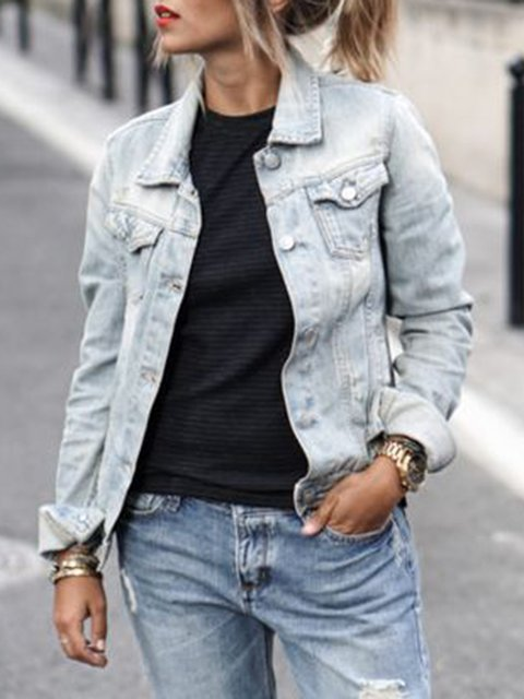 Pockets Buttoned Casual Long Sleeve Denim Solid Outerwear