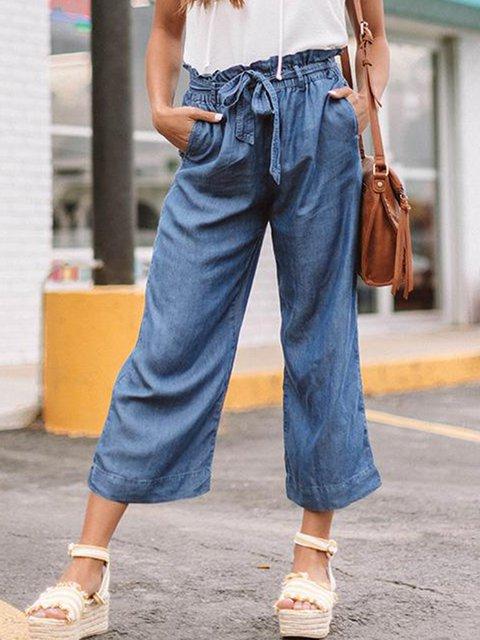 Cotton-Blend Plain Ruffled Pants