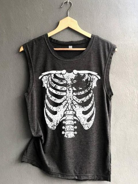 Black Sleeveless Cotton Crew Neck Shirts & Tops