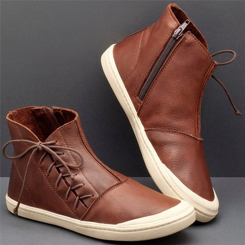 Women Casual Daily High Top Zipper Lace Up Sneakers