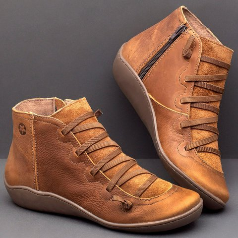 Women's Casual Flat Leather Lace-up Boots PU Boots