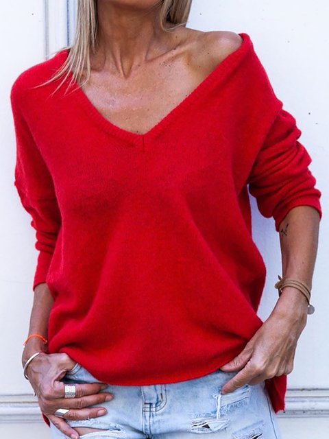 Plus Size Cotton Solid V Neck Casual Knitwear