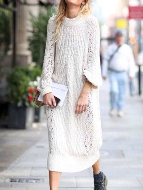 Crew Neck Women Dresses Going Out Knitted Solid Sweater Dresses
