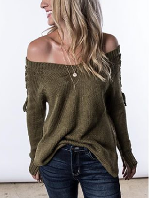 Deep Green Long Sleeve Casual Solid Shirts & Tops