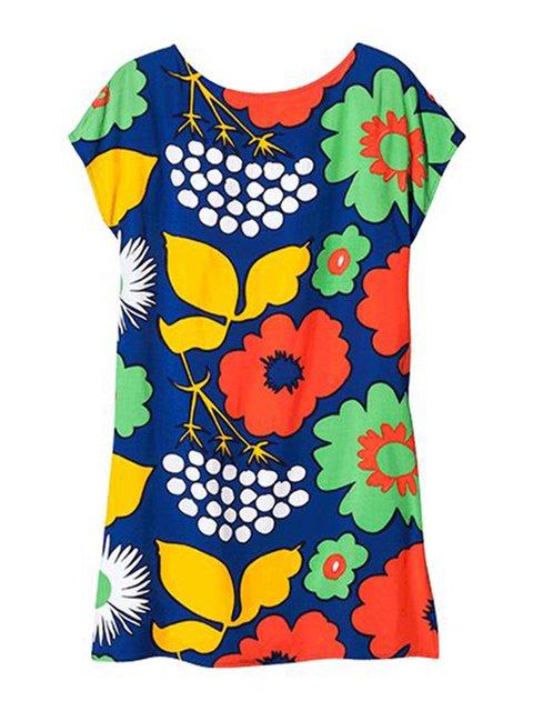 Multicolor Women Floral Dresses Holiday Floral-Print Floral Dresses