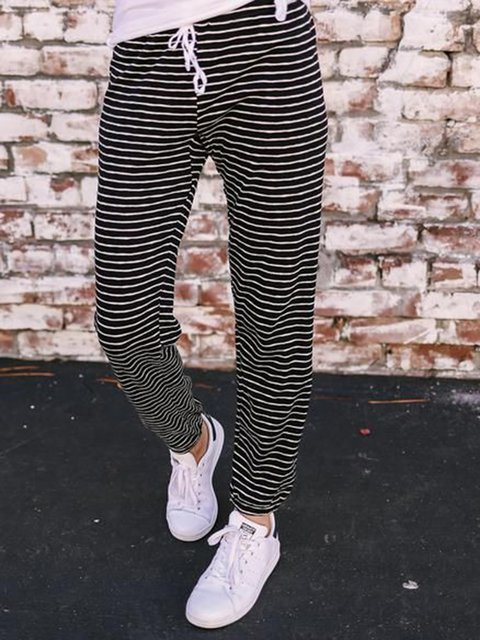 Plus Size Striped Drawstring Casual Pants