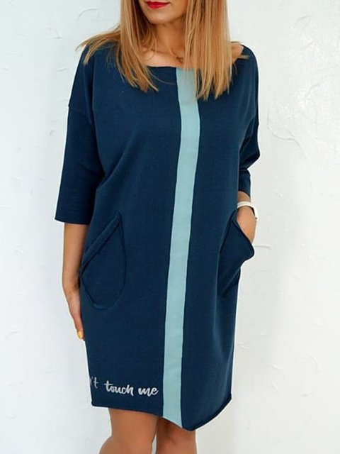 Plus Size Color-block Letter Drop Shoulder Casual Dresses
