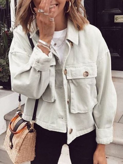 Plus Size Pockets Buttoned Solid Casual Jackets