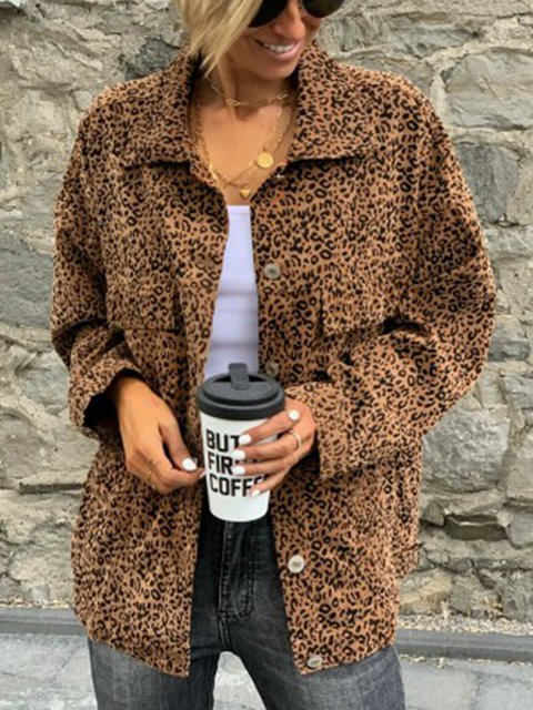 Plus Size Leopard Pockets Buttoned Chic Outwear