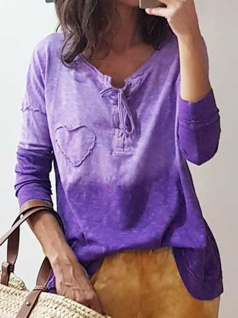 Plus Size Dip-Dye Lace-up Printed Casual T-Shirts