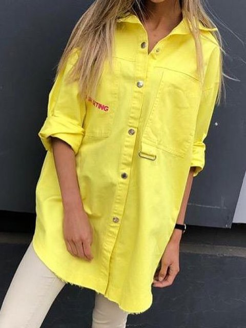 Plus Size Pockets Buttoned Casual Tunic Shirts