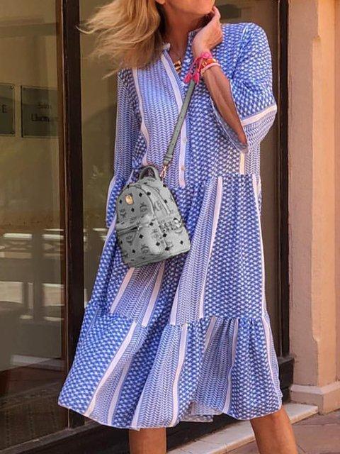Plus Size Women Frill Sleeves V-Neck Paneled Dresses
