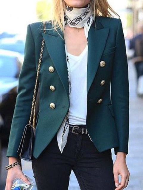 Women Long Sleeve Vintage Solid Blazer
