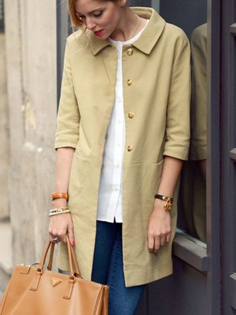 Women Pockets Buttoned 3/4 Sleeve Solid Outerwear