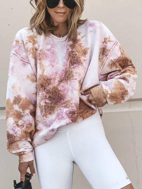 Casual Long Sleeve Ombre/tie-Dye Printed Tops