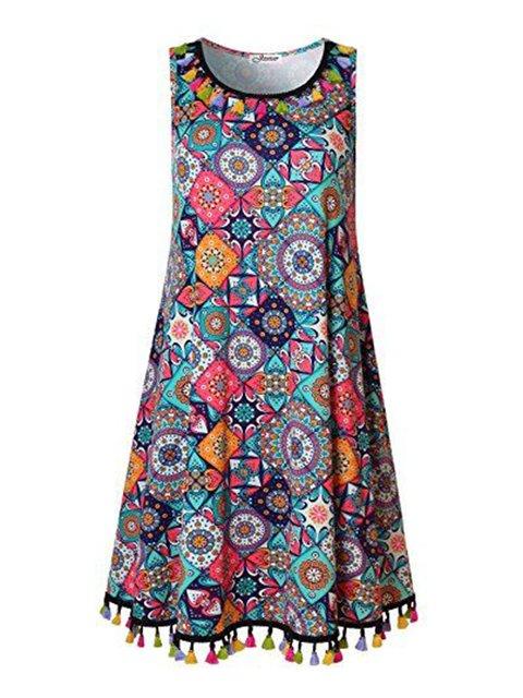 Multicolor Women Floral Dresses Holiday Cotton-Blend Fringed Dresses