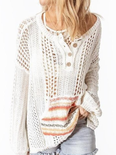 Stripes Long Sleeve Boho Knitted Shirts Tops