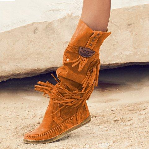 Plus Size Tassel Boho Suede Flat Heel Tall Boots