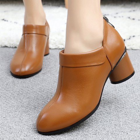 Stylish Round Toe Genuine Leather Block Heel Ankle Booties Pumps