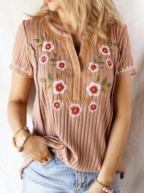 Deep Pink Knitted Short Sleeve Shirts Tops