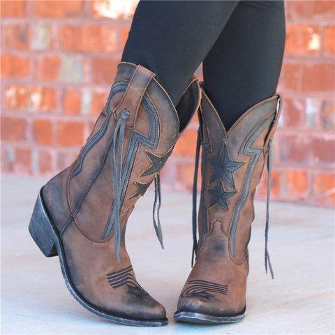 Women Vintage Slip-On Faux Leather Low Heel Boots