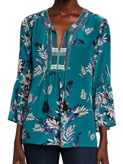 Green Floral-Print V Neck Long Sleeve Floral Shirts & Tops