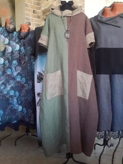 Cowl Neck Green Red Women Dresses Daily Paneled Dresses