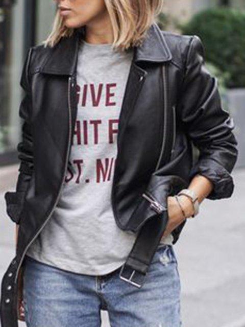 Zipper Long Sleeve Shawl Collar Pu Solid Outerwear