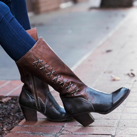 Rust Faux Leather Chunky Heel Winter Boots