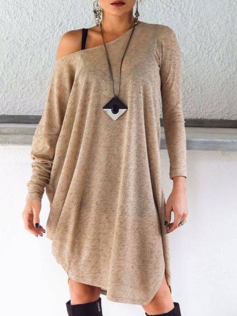 Khaki Knitted Round Neck Long Sleeve Casual Shirts & Tops