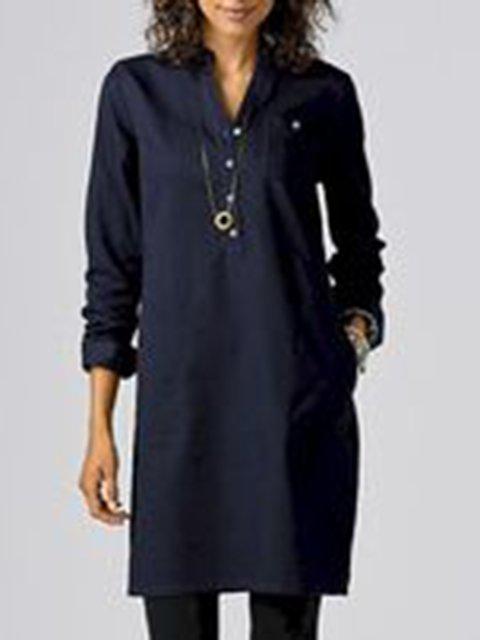 Daytime Shirt Collar Plain Long Sleeve Vintage Tops