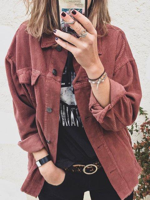 Plus Size Maxi Shirt Collar Vintage Long Sleeve Plain Outerwear