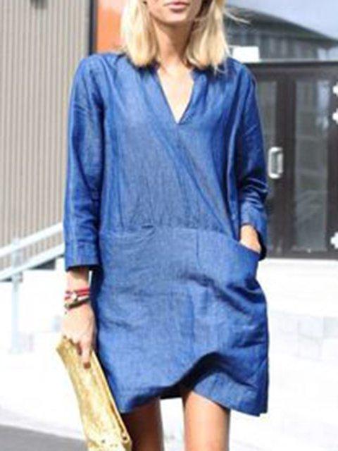 Mini Long Sleeve V Neck Daytime Shift  Dresses