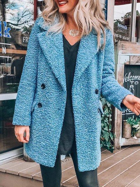 Shawl Collar Work Long Sleeve Plain Outerwear