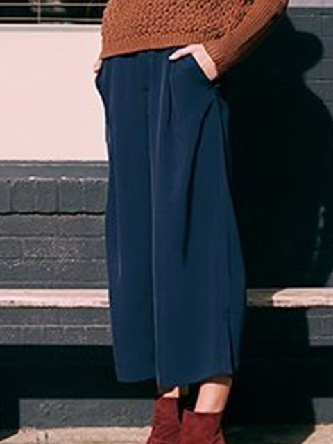 Plus Size Maxi Daytime Plain Pants