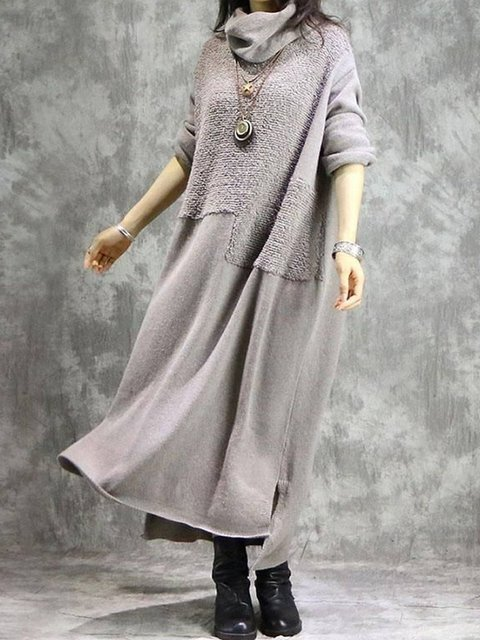 Gray Cotton Long Sleeve Dresses