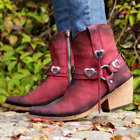 Wine Red Chunky Heel All Season Buckle Faux Leather Boots