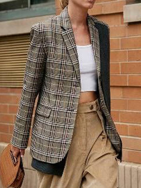 Khaki Paneled Casual Lapel Checkered/plaid Coats